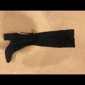 Over the knee felt black boots w/ ties on the back